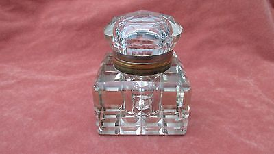 A Superb Large Heavy Antique Glass Desk Inkwell with Diamond Cut Shaped Lid