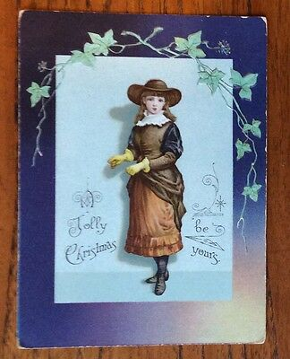 """RARE OLD XMAS CARD, """"A Jolly Christmas Be Yours"""" Young Girl In Victorian Dress."""