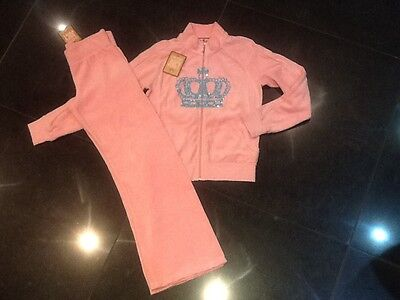 NWT Juicy Couture New Genuine Girls Age 8 Pink Velour Tracksuit With Juicy Logo