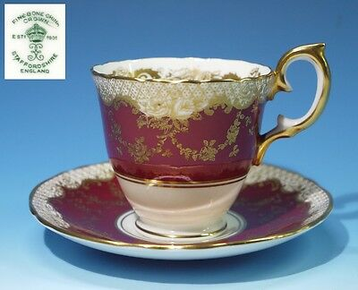 Beautiful Vintage Crown Staffordshire Gilded Bone China Cabinet Cup & Saucer.