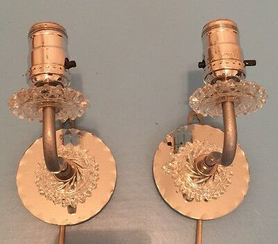 Unique Beautiful Glass Plugin Sconces Expertly Wired Pair Vintage Art Great!!