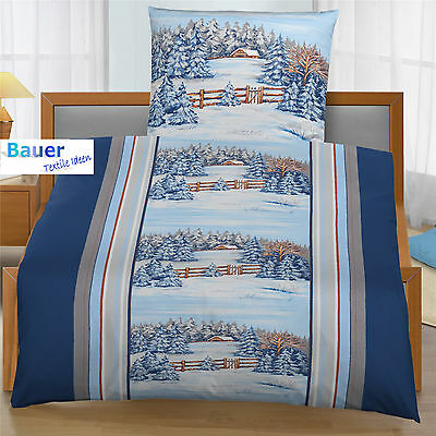 bettw sche 155x200 cm winter landschaft 6191 blau biber b ware eur 16 95 picclick de. Black Bedroom Furniture Sets. Home Design Ideas
