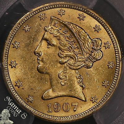 1907 $5 Dollar US Liberty Head 90% Gold Half Eagle Coin With Motto PCGS MS-62+