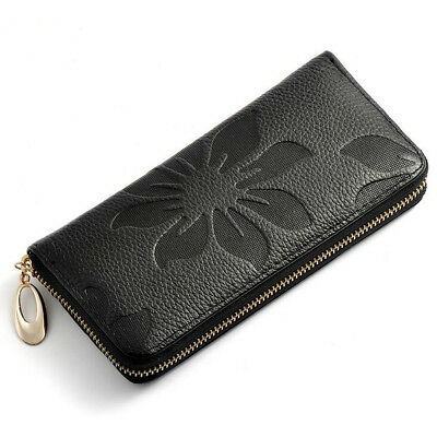 Fashion Lady Women's Leather Wallet Clutch Card Holder Zip Coin Purse Bags BLACK