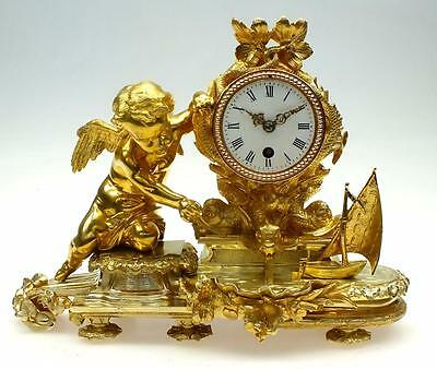 Antique 8 Day French Bronze Ormolu Mantel Clock Cherub & Boat On Waterfall Lake