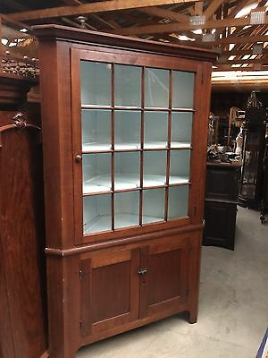Antique Cherry Corner Cupboard Two Piece Early Wavy Glass
