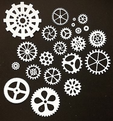 Mixed Steampunk Cog Die-Cuts (White) pack of 22