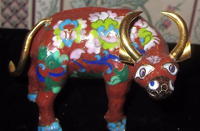 Cloisonne Bull Red With Gold Horns And Tail
