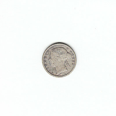 1895 Straits Settlements 10 Cents Silver Coin - Victoria