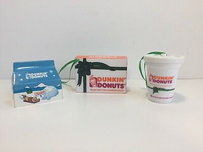 Lot 3 Dunkin' Donuts Xmas Tree Holiday Ornaments Coffee Cup Box Munchkins Donuts