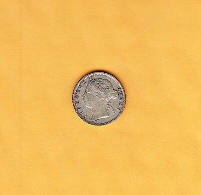 1889 Straits Settlements 10 Cents Silver Coin - Victoria