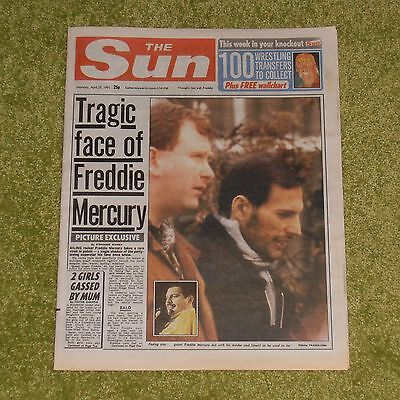 QUEEN Tragic Face Of Freddie Mercury - UK 'THE SUN' NEWSPAPER (April 29th 1991)
