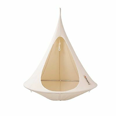 Cacoon single hanging hammock chair for 1 adult - natural white