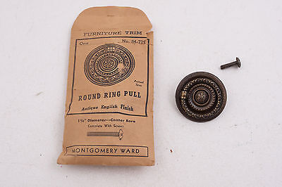Furniture Trim Round Ring Drawer Pull Montgomery Wards (C2L) Old English Style