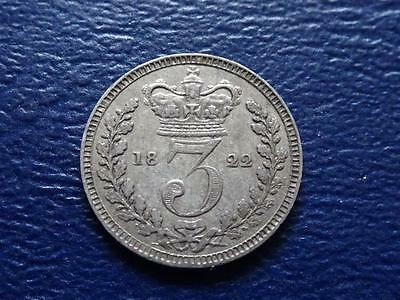 Great Britain - Rare George 1111 Silver Maundy Threepence 1822