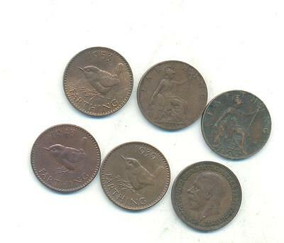 Nice Rare.british.farthings.1917.1921.1936.1939.1943.1953.. Collectable.y.52