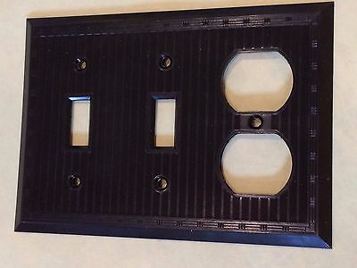Vtg Brown Art Deco 1 Toggle Switch 2 Duplex Plate Outlet Cover Uniline 3 Gang
