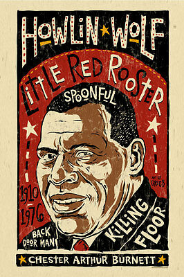 big Howlin Wolf Blues folk art poster ART BY GREGO - Mojohand 12x18