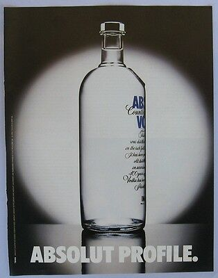 Absolut Vodka Profile ad 1995 clipping from a magazine