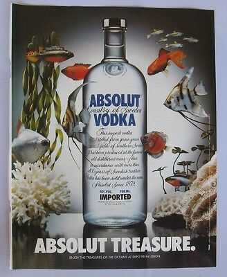 Absolut Vodka Treasure ad 1999 clipping from a magazine