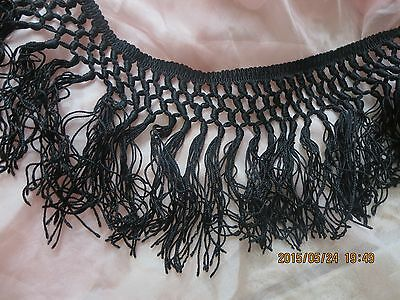 """ANTIQUE VICTORIAN HD-KNOTTED SILK FRINGED INK BLACK TRIM 26"""" x 4.5"""""""