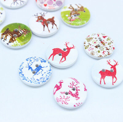 30 Santa elk Wooden pattern Buttons Round 2 holes Sewing Scrapbooking 20MM XC406