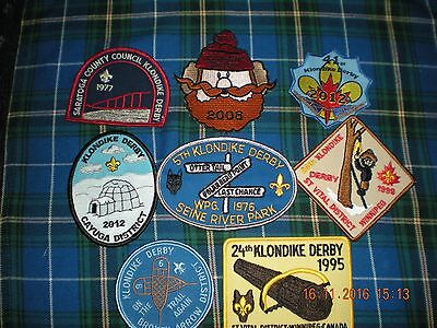 """8 boy scouts """"scouting"""" KLONDIKE DERBY badges patches all different"""