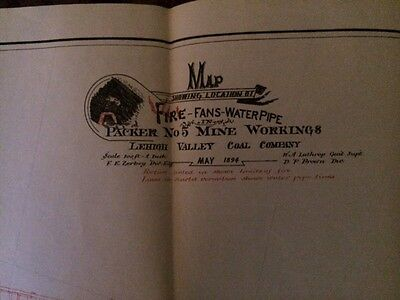 1894 Lehigh Valley Coal Co. Packer No.5 Mine Workings Fire-Fans-Water Pipe Map