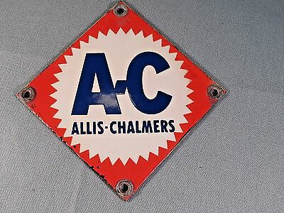"Vintage,Allis-Chalmers Tractor,Small Porcelain Sign,Red,White & Blue,""A-C"",Exc."