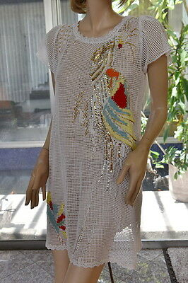 Vintage All Hand Made Cotton Crochet Dress Decorated with Beaded and Sequins Phe