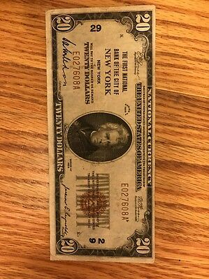 1929 $20 The First National Bank Of New York Ny Charter #29