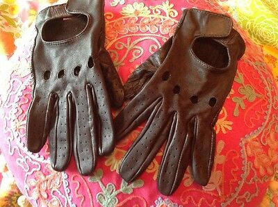 Ladies brown soft leather driving gloves m/l fit