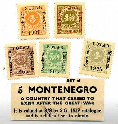 Complete set of 1905 Postage Due stamps from Montenegro