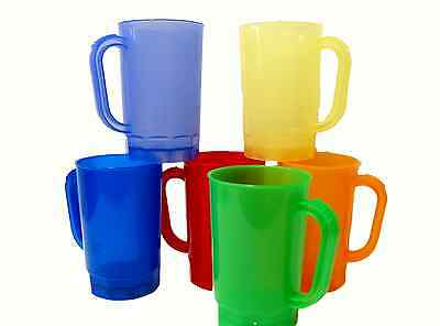 6 1 Pint Beer Mugs Mix of Translucent Colors Mfg. USA Dishwasher Safe Top Shelf
