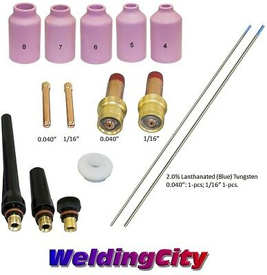 TIG Welding Torch 17/18/26 Kit .040-1/16 Gas Lens Tungsten (Blue) T52B US Seller
