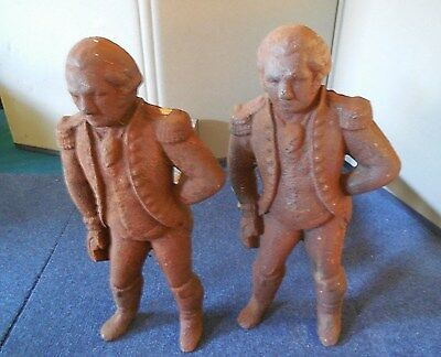 Vintage Pair Of Heavy Soldier Cast Iron Fireplace Andirons & Firedogs
