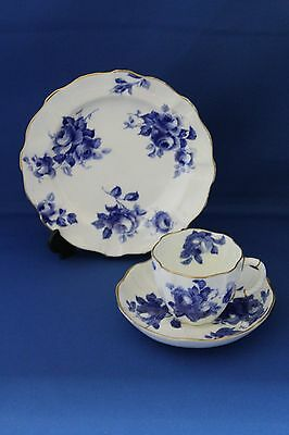 Antique Royal Crown Derby Blue Rose And White Pattern Trio No 6493 Dated 1901