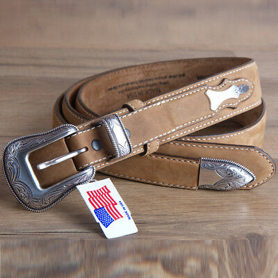 """32""""-46"""" Brighton Leather Mens Ridgepoint Ranger Belt Silver Plated Buckle Brown"""