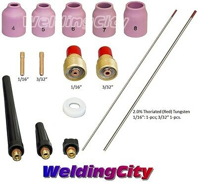 """TIG Welding Torch 9/20 Kit Gas Lens-Tungsten (Red) 1/16""""-3/32"""" T50A 