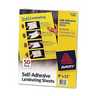 Avery Self-Adhesive Laminating Sheets 9 x 12 Inches Box of 50 (73601) Clear