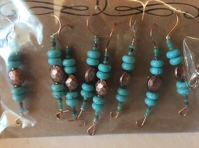 8 Southwest Rustic Cowboy Christmas Bead Copper Holiday Ornament Hanger Hooks