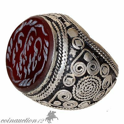 Late Medieval Massive Heavy Silver Ring With Garnet Stone& Arabic Inscriptions