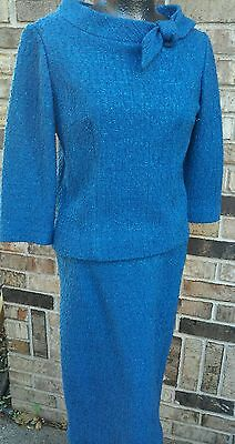 SO JOAN FROM MAD MEN butte knit blue holiday vintage 1960S TWO PC SKIRT TOP