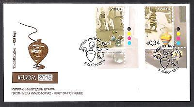 CYPRUS 2015 EUROPA CHILDREN OLD TOYS Spinning Top and Marbles SET UNOF/AL FDC B
