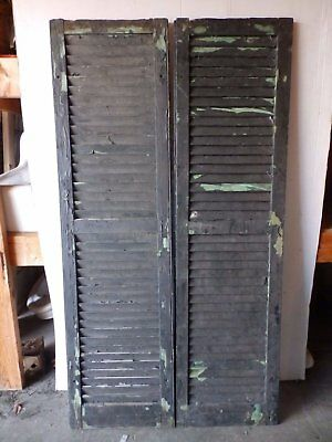 Pair Antique Shutters Door Window Louvered Vintage Painted Old 17x63 2234-16