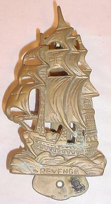 Vintage Brass 1577 British Sailing Ship Galleon Revenge Door Knocker