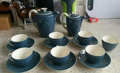 Stunning Poole Pottery Blue Moon Tea Coffee 6 cup set