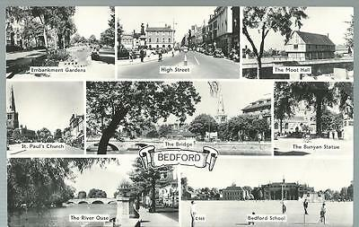 Old Postcard    Eight Views      Bedford      Not Posted