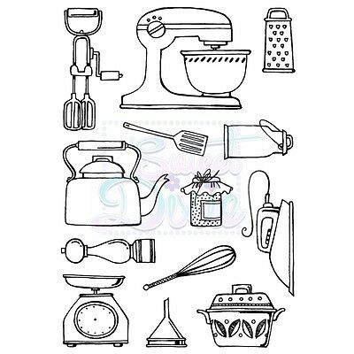 SWEET DIXIE Sue Dix KITCHEN WARES A6 Clear Photopolymer Stamps SDCSA6068 Kettle