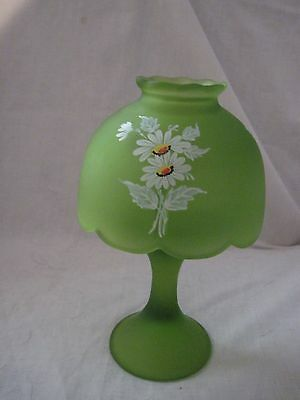 Westmoreland Candle Lamp Fairy Light Daisies Green Satin Top & Pedestal-Marked